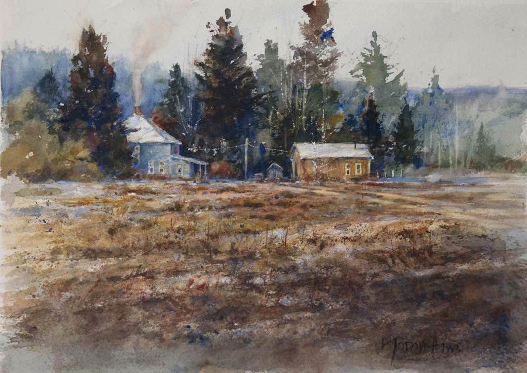 'Warming the Farmhouse' Watercolor Study - Studios of Dale L Popovich