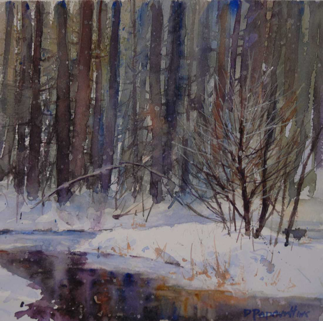 'Winter Wisconsin River' Watercolor Study - Studios of Dale L Popovich