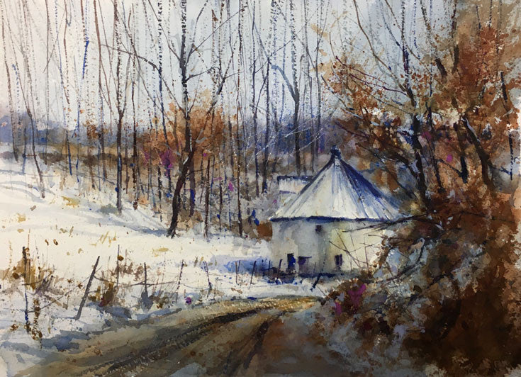 'Around the Bend' Watercolor Study - Studios of Dale L Popovich