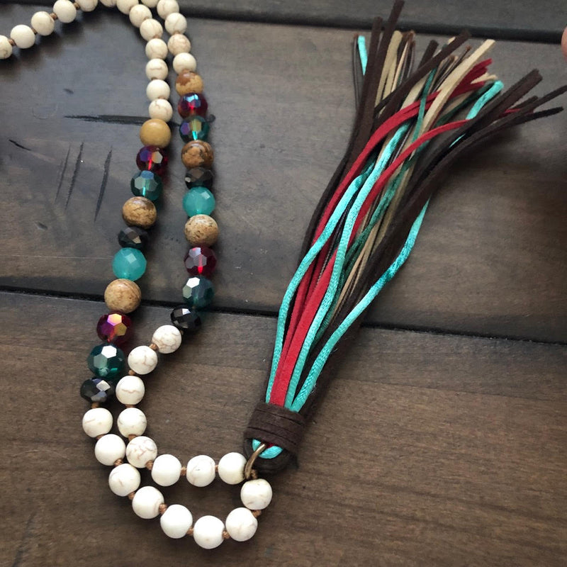Beaded Tassel Necklace Set