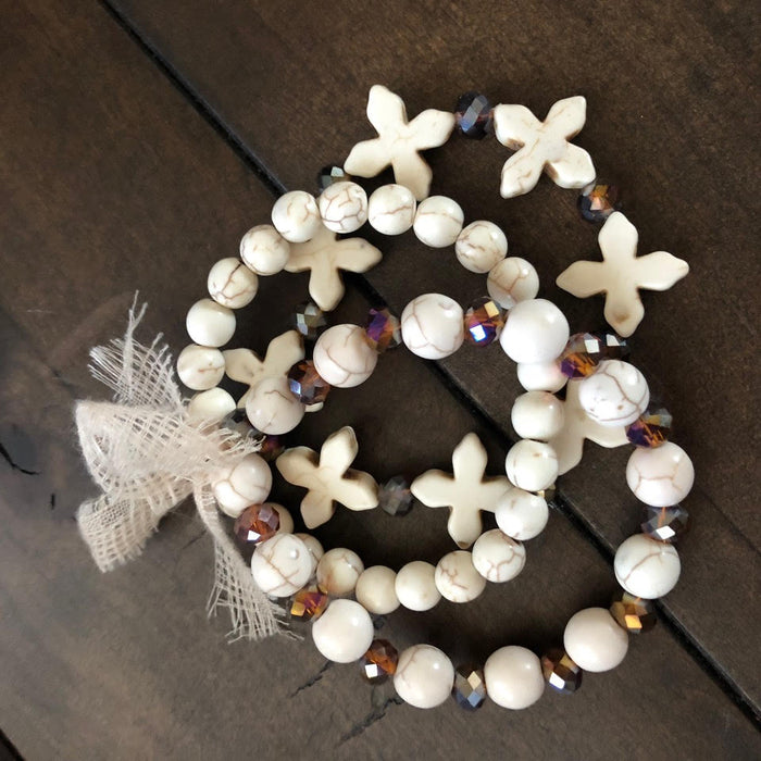 Stacked White Stone Beaded Bracelets