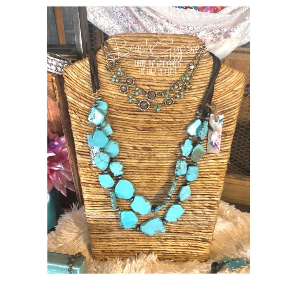 Large Turquoise Stone Rope Necklace