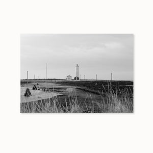 Icelandic black and white Reykjavik lighthouse photo in Scandinavian interior by Minumo
