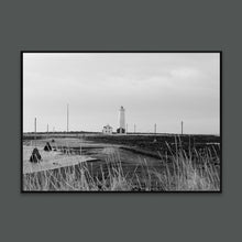 Load image into Gallery viewer, Icelandic black and white Reykjavik lighthouse photo in Scandinavian interior by Minumo