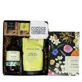 citrus care package with bath products and soaps