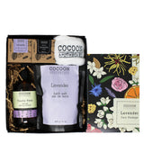 lavender care set with bath products and soaps