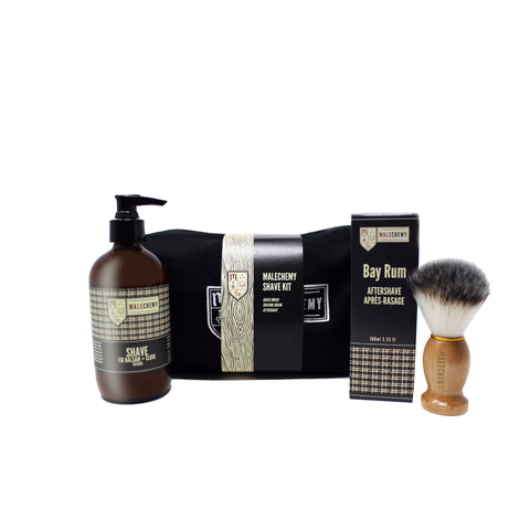 Shaving brush, shaving cream, aftershave gift bag