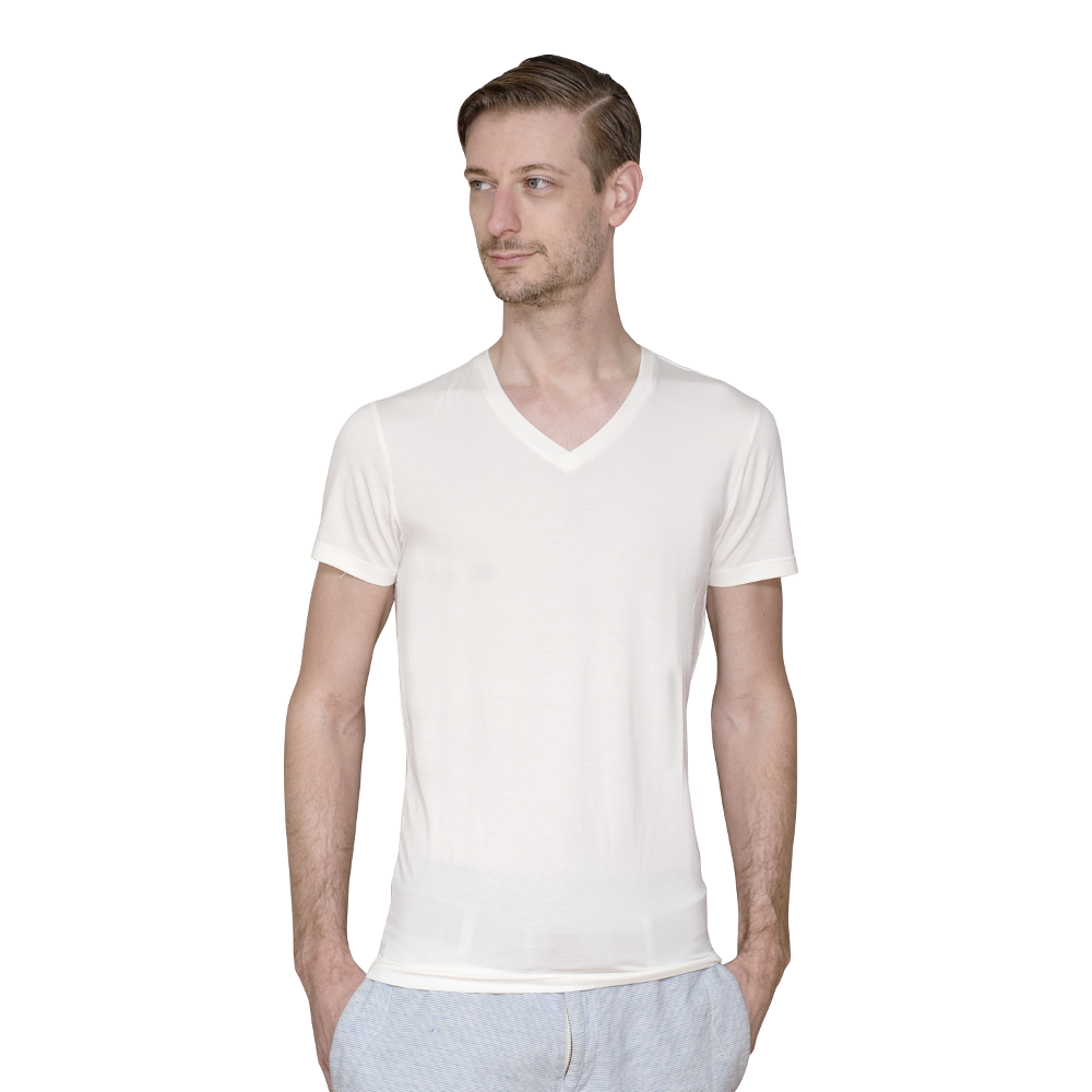Men's Extra Long White Fitted V-Neck Bamboo Undershirts | 3 Pack