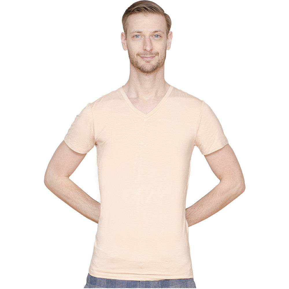 Men's Extra Long Light Nude Fitted V-Neck Bamboo Undershirts | 3 Pack
