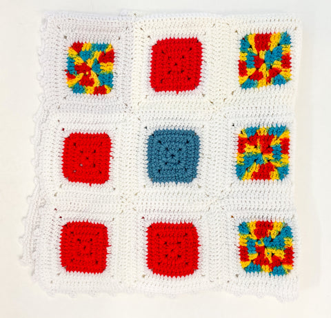 The find: multi color squares throw blanket