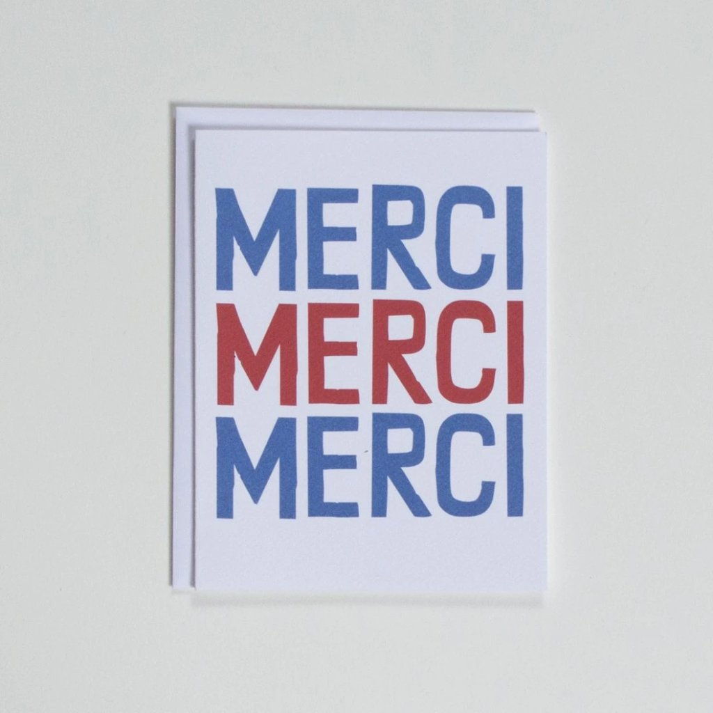merci merci merci thank you note card