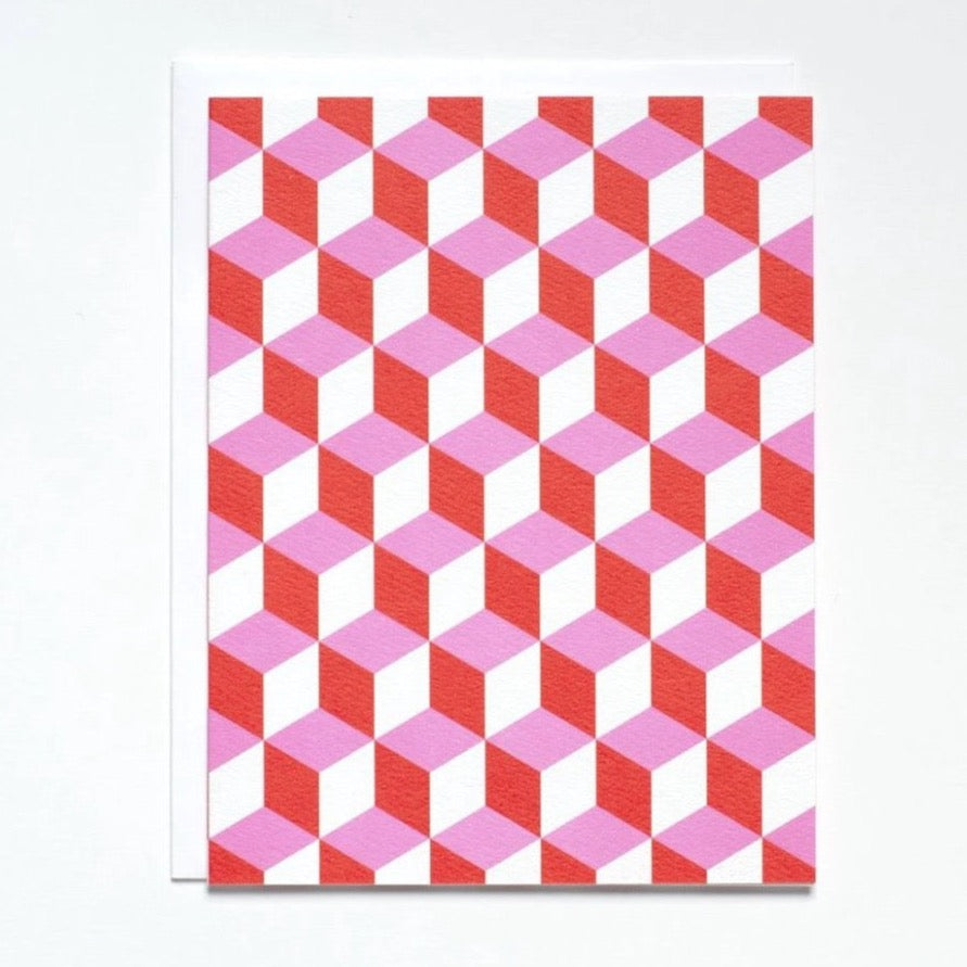 pink & red geometrics note card