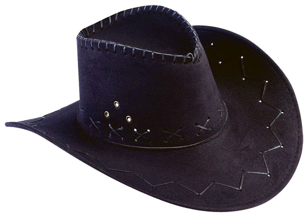 Hat Cowboy Flocked Black Adult