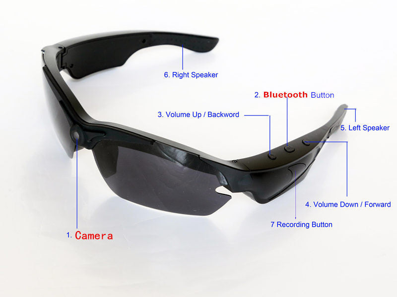Camera Polarized Sunglasses with Bluetooth, Speaker & Video