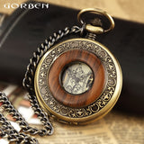 Solid Wood Mechanical Pocket Watch FOB Chain