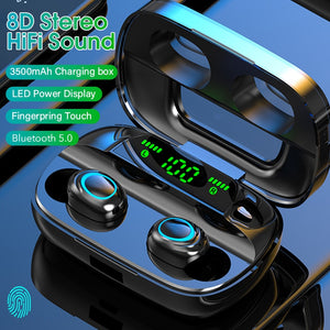 Touch Wireless Earphone TWS 5.0 Bluetooth HiFi Stereo Earbuds LED Power