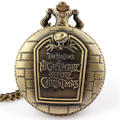 Hot Christmas Nightmare Before Christmas vintage antique pendant necklace quartz pocket watch Halloween Gift free shipping P49