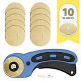 45mm Titanium Coated Rotary Cutter Blades For OLFA And Fiskars - Buy 5 Get 5 Free + Free Rotary Ergonomic Cutter - The Fabric Hut