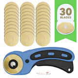 45mm Titanium Coated Rotary Cutter Blades For OLFA And Fiskars - Buy 10 Get 20 Free + Free Rotary Ergonomic Cutter - The Fabric Hut