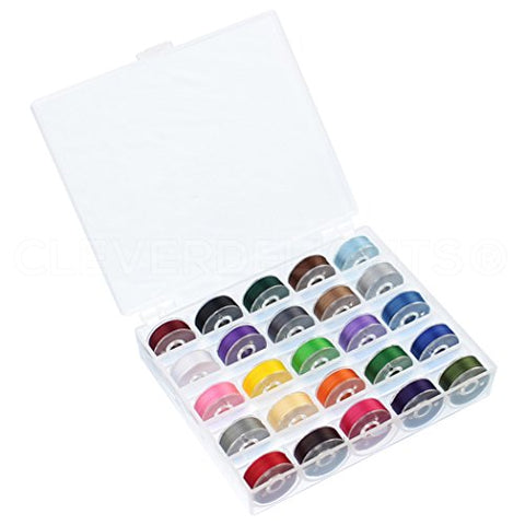 "25 Pack Colored Prewound Bobbins Set with Case - 60wt - Size L Bobbins - 3/8"" x 13/16"" - The Fabric Hut"