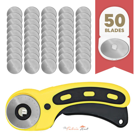 45mm Precision Rotary Blades - Pack of 50 + Rotary Cutter - The Fabric Hut