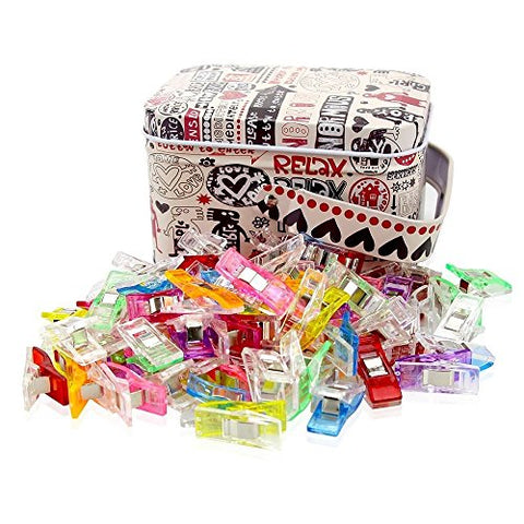 Multipurpose Sewing Clips With Tin Box, Pack of 100 Wonder Clips Assorted Colors (Tin Box design may vary) - The Fabric Hut