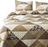 100% Cotton 3-Piece Quilt Set. Hand-made Patchwork. Queen Size 96'' x 88'' - The Fabric Hut