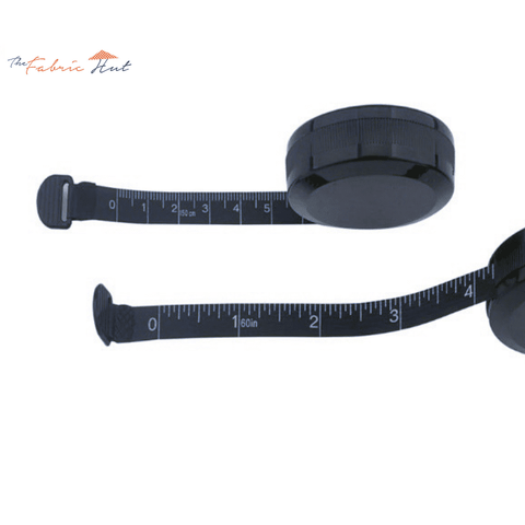 Black Mini Push-Pull Sewing Measuring Tape 1.5 Meters/60 Inch - The Fabric Hut