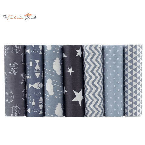 Fat Fifth Bundle - Gray Fun Prints Collection - Set of 7 - The Fabric Hut