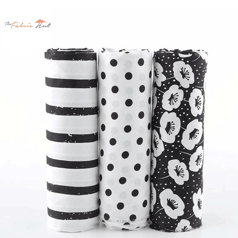 Fat Fifth Bundle - Print Black Flower Collection - Set of 3 - The Fabric Hut