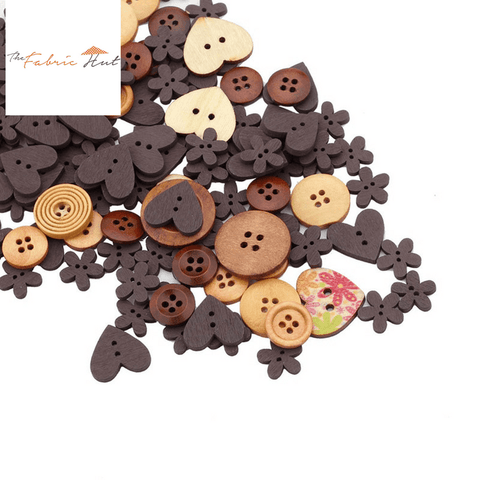 140 Assorted Wooden Buttons - The Fabric Hut
