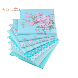 Fat Fifth Bundle - Roses and Prints on Blue Collection - Set of 8