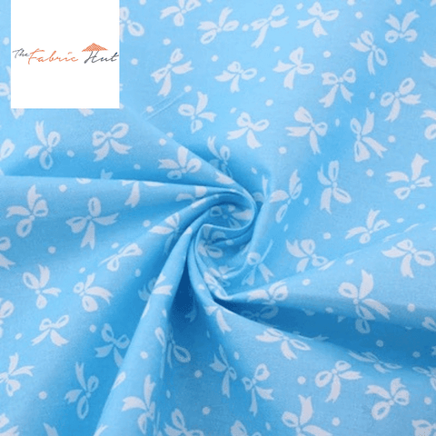 White Ribbons on Blue - 1/2 Yard - The Fabric Hut