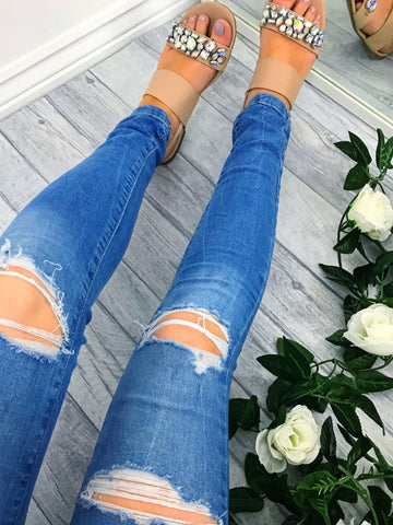 Women's Ripped Denim Blue Distressed Skinny Jeans | Clothing Boutique
