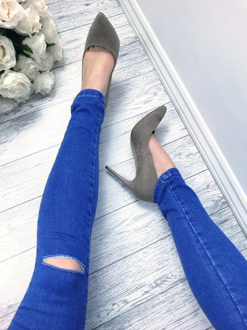Women's Blue Ripped Knee High Waisted Skinny Jeans | Clothing Boutique