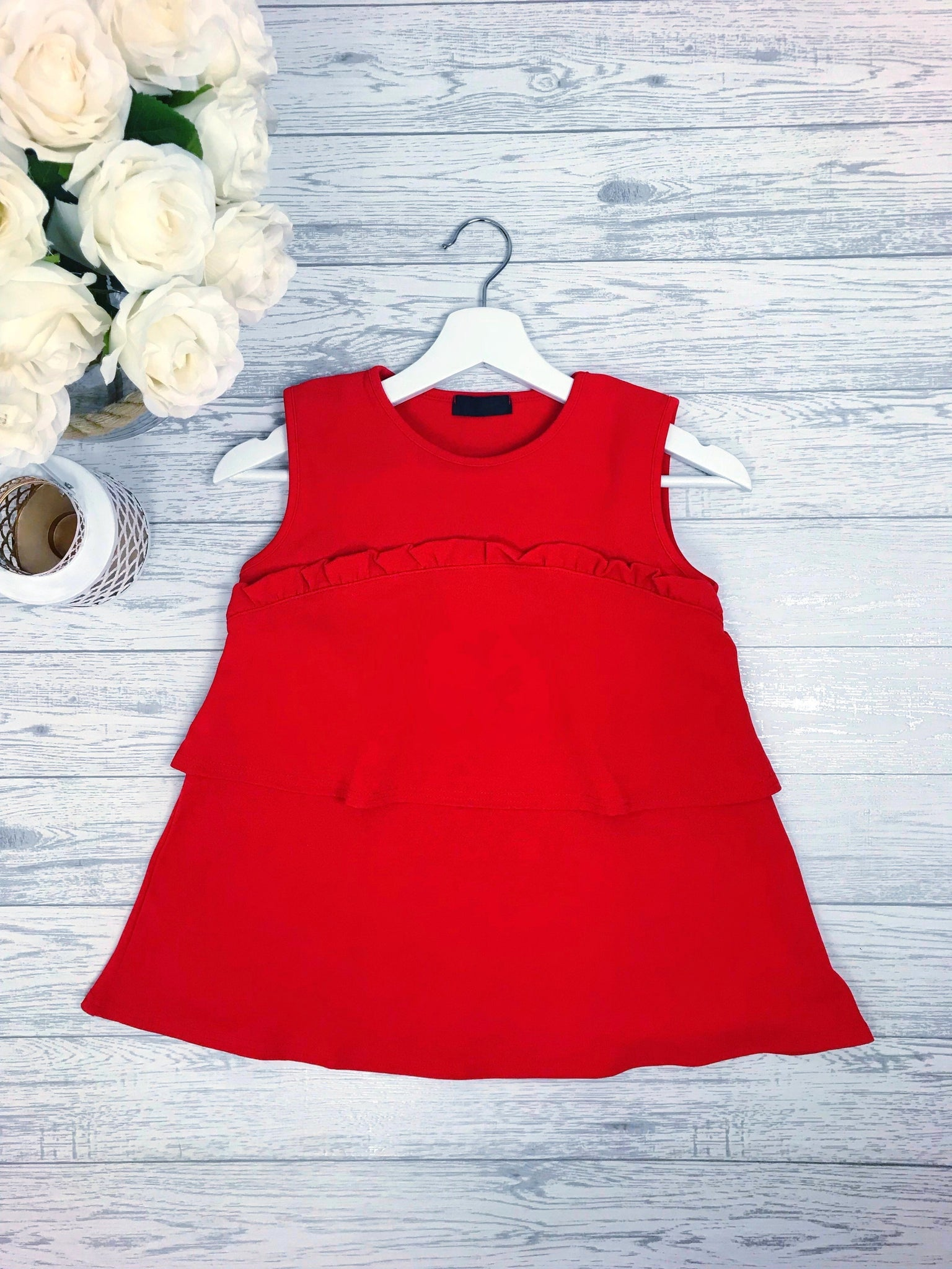 Women's Red Frill Top Going Out Party Top | Clothing Boutique