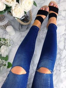 Women's Denim Slit Knee Distressed Skinny Jeans | Clothing Boutique