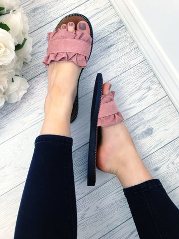 Women's Pink Frill Slider Sandals | Online Clothing Boutique