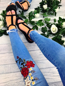 Women's Blue Floral Embroidery Jeans with Distressed Hem