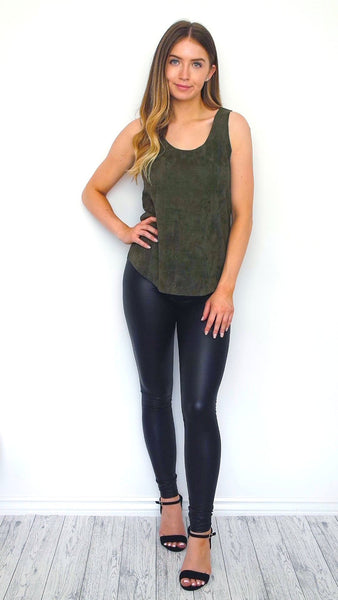 Women's Khaki Faux Suede Top | Online Clothing Boutique
