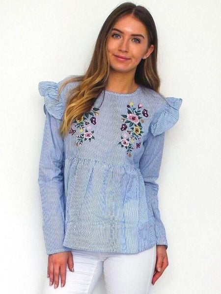 Women's Blue Floral Frill Boho Chic Top | Online Clothing Boutique