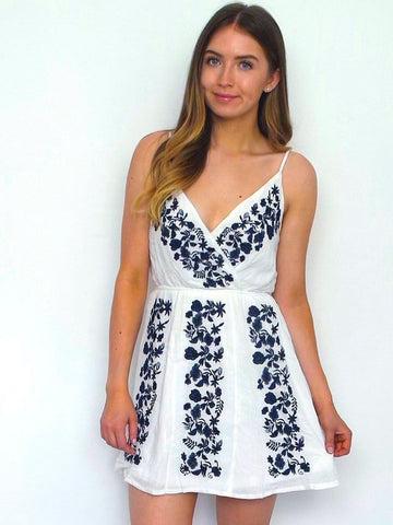Women's White Crossover Skater Day Dress | Online Clothing Boutique