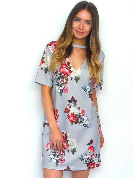 Women's Grey Floral Choker Shift Dress | Online Clothing Boutique