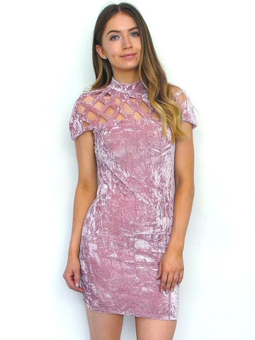 Women's Pink Crushed Velvet Bodycon Dress | Online Clothing Boutique