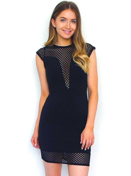 Women's Black Bodycon Fitted Mesh Dress | Online Clothing Boutique