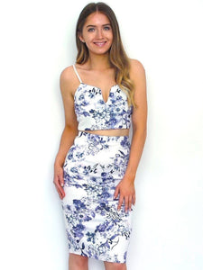 Women's Blue Floral Two Piece Skirt and Top Co-ord | Clothing Boutique