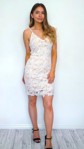 Women's White Crochet Lace Bodycon Fitted Dress | Clothing Boutique