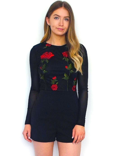 Women's Black Floral Going Out Playsuit | Online Clothing Boutique