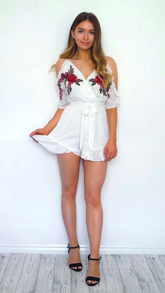 Women's White Floral Off The Shoulder Frill Playsuit | Online Boutique