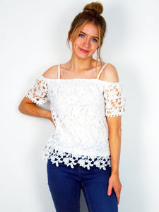 Women's White Floral Lace Off The Shoulder Top | Clothing Boutique